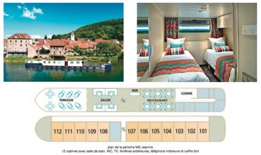 Exemple de péniche-hôtel à 12 chambres.