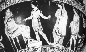 Créon est à gauche et Antigone est représentée en jeune fille modeste