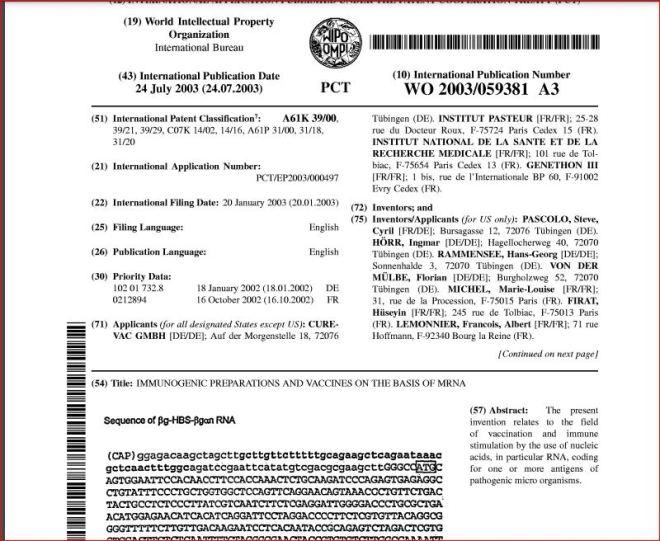 brevet Curevac IP